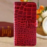 Etui iPhone 5 cuir croco rouge