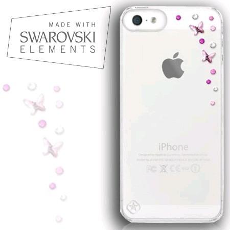 coque iphone 5 5s swarovski papillon rose