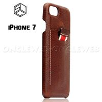 Coque iPhone 7 cuir luxe SLG marron