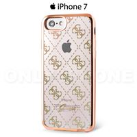 Coque iPhone 7 GUESS semi rigide 4g transparent argent