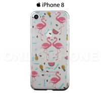 Coque iPhone 8 Flamants et Fruits Transparent