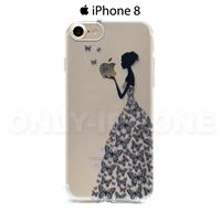 Coque iPhone 8 Robe de papillons  Noir