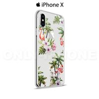 Coque iPhone X Fleurs tropicales Transparent