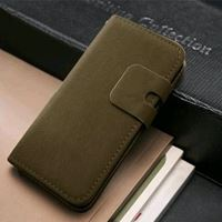 Etui iPhone 5/ 5S cuir marron kaki portefeuille