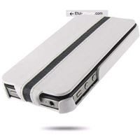 etui iphone 5 clapet blanc et carbone