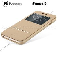 etui iphone 6 cuir et tactile beige