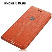 étui 6 plus cuir luxe grainé orange