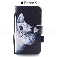 Etui portefeuille iPhone X chat rigolo