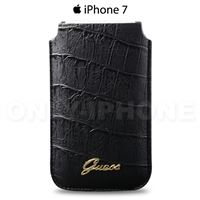 Housse iPhone 7 Guess croco noir vernis